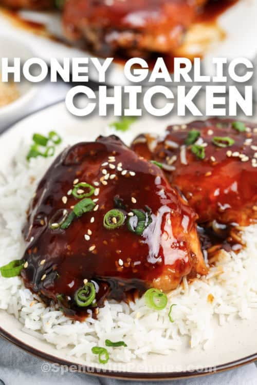plated Honey Garlic Chicken on rice with a title