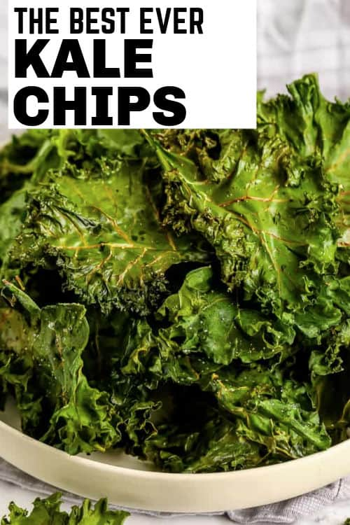 kale chips in a bowl with writing