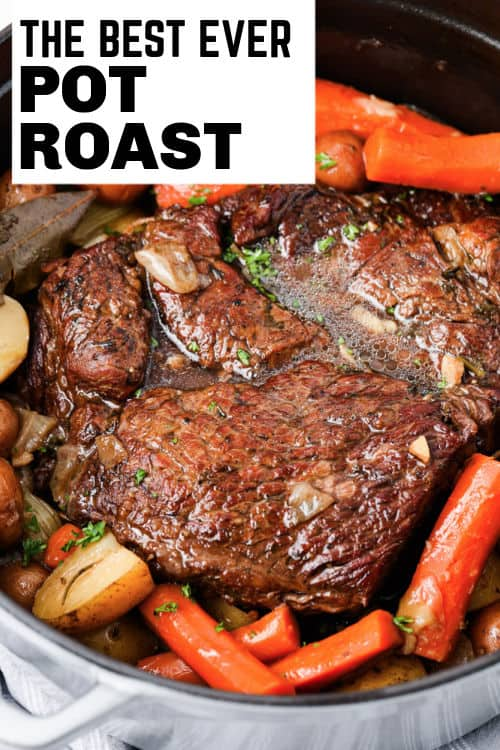 Pot Roast (Chuck Roast) in a pan with writing