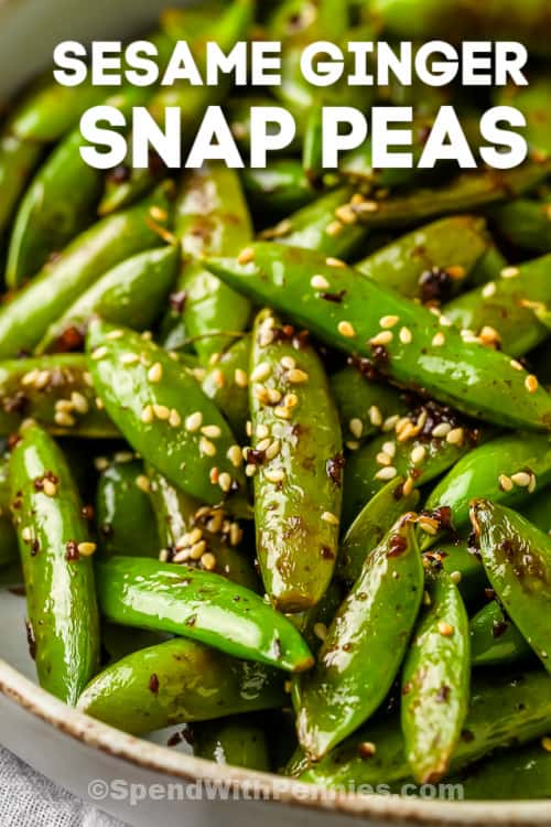 snap peas with soy and garlic shown with a title