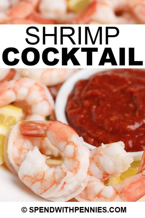 Shrimp Cocktail on a white plate with dip and a itle