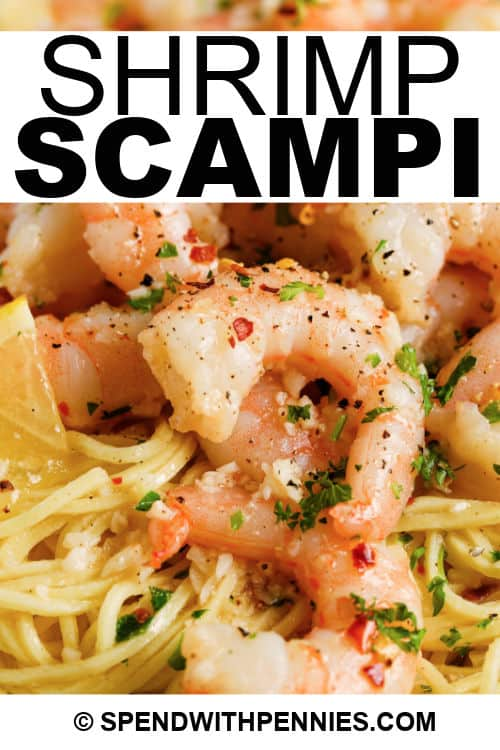 Shrimp Scampi with a title