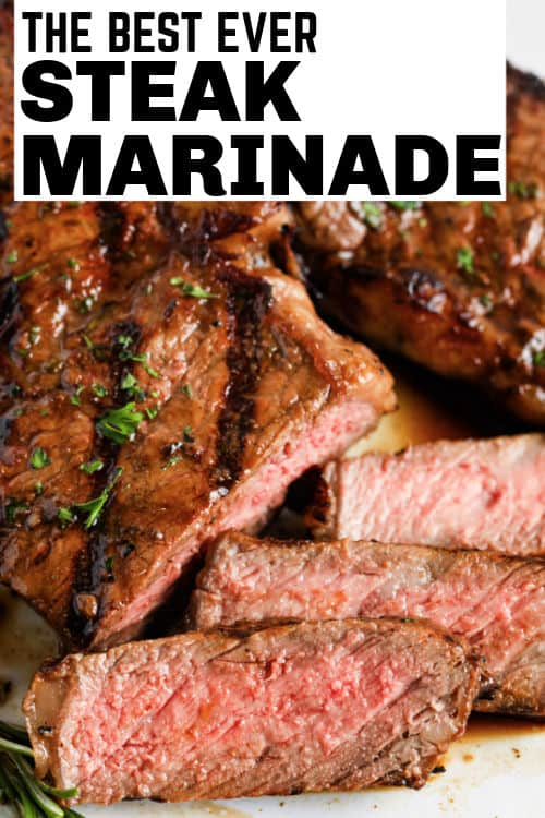 Steak on a plate for Steak Marinade with a title
