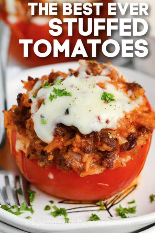 Stuffed Tomatoes on a plate with writing
