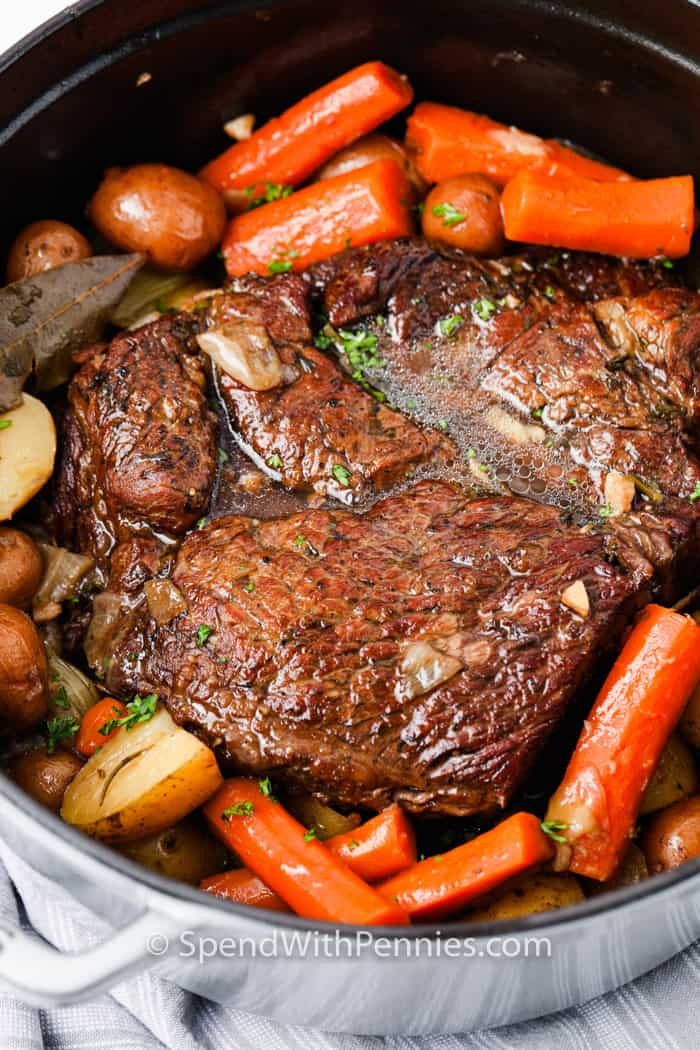 close up of cooked Pot Roast (Chuck Roast) in a pot