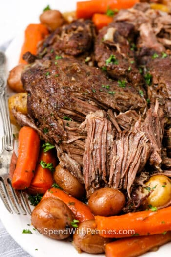 cut up Pot Roast (Chuck Roast) on a plate