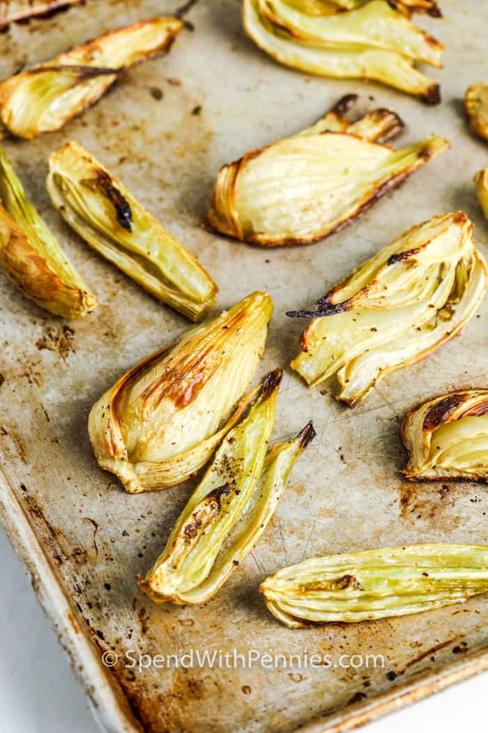 Roasted Fennel on a baking sheet