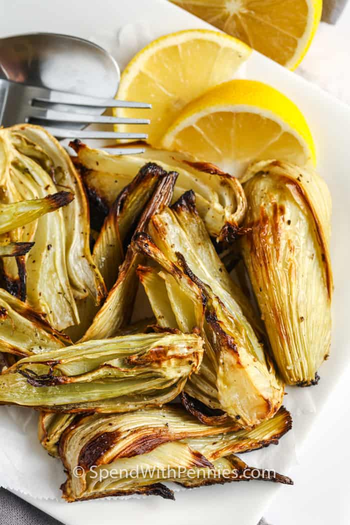 top view of Roasted Fennel with lemon slices