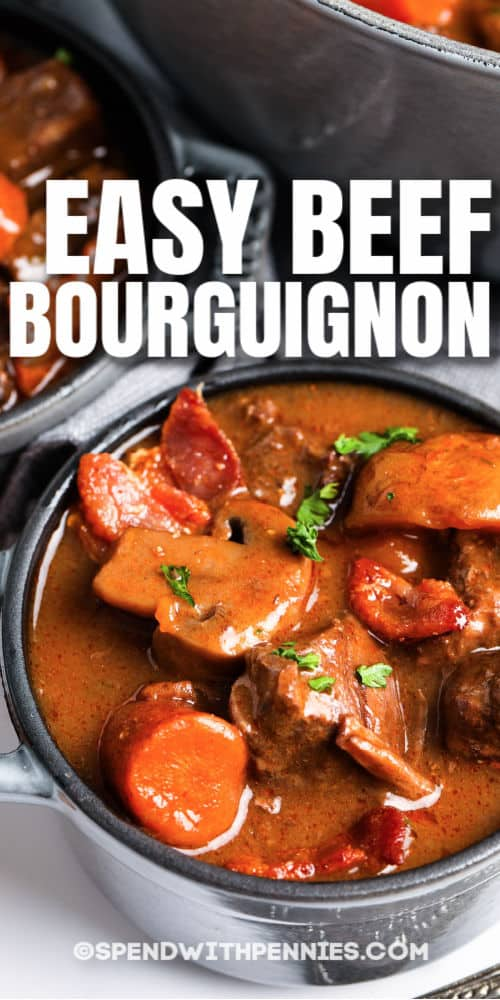Beef Bourguignon in bowls with a title