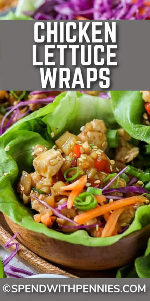 Chicken Lettuce Wraps in small brown bowls with a title.