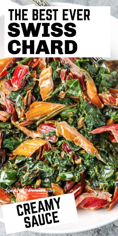 top view of Creamed Swiss Chard on a plate with writing