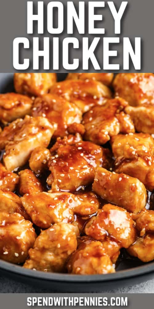 Honey Chicken in a pan with a title