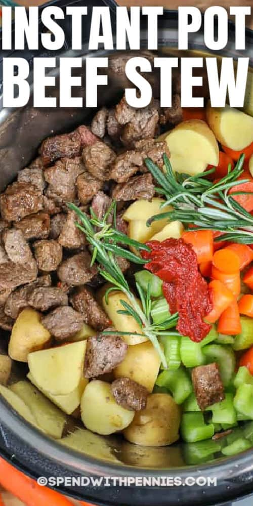 ingredients in slow cooker to make Instant Pot Beef Stew with writing
