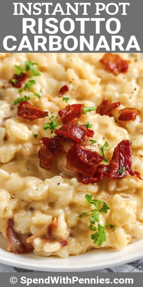 Instant Pot Risotto with bacon and a title