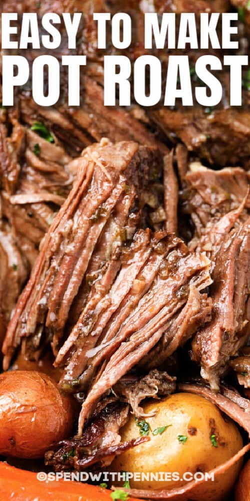 close up of cut up Pot Roast (Chuck Roast) with writing