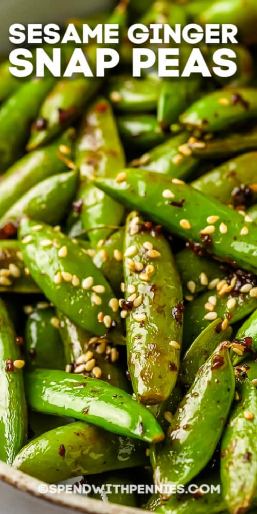 close up of snap peas with soy and garlic shown with a title