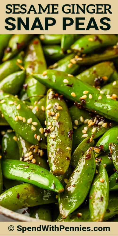 snap peas with soy and garlic with writing on top