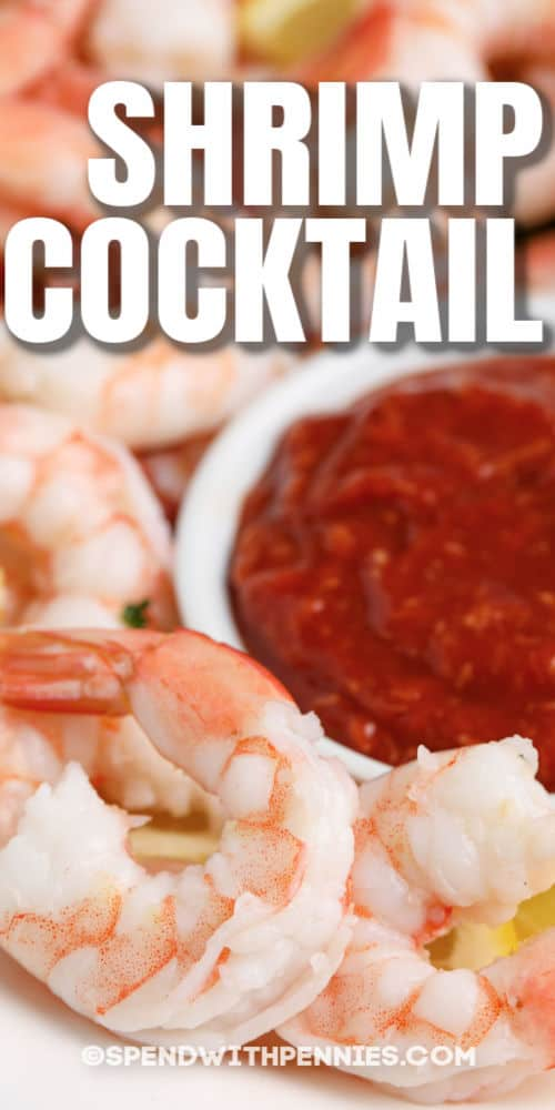 close up of Shrimp Cocktail on a plate with a title