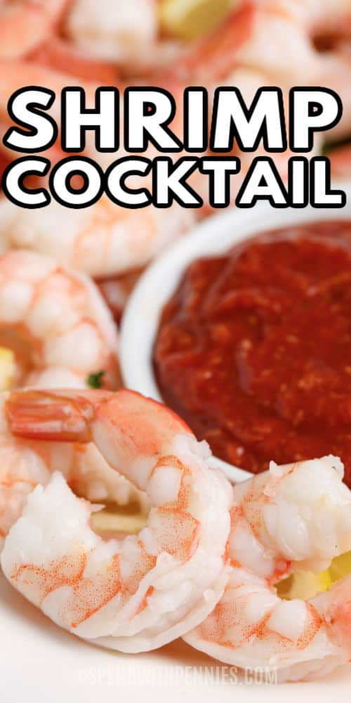 Shrimp Cocktail with dip and a title