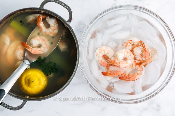adding shrimp to ice to make Shrimp Cocktail