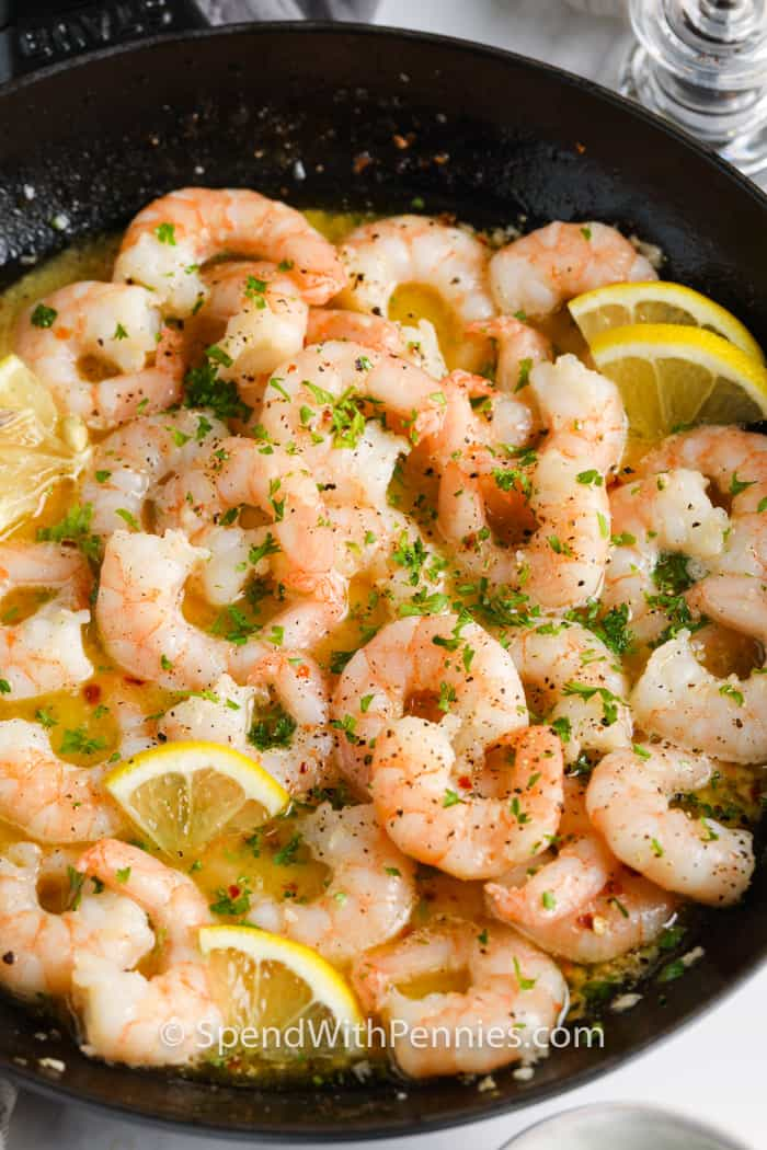 Shrimp Scampi in a frying pan
