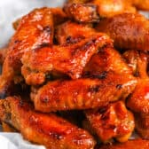 close up of Sticky Hot Chicken Wings