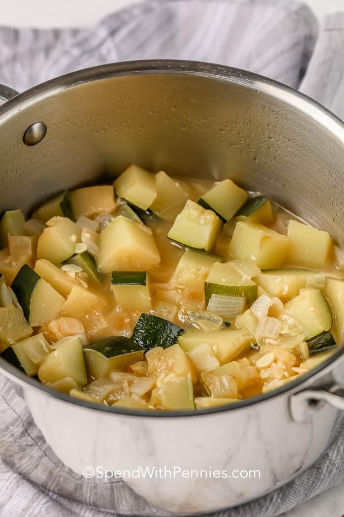 chunky Zucchini Soup in a pot