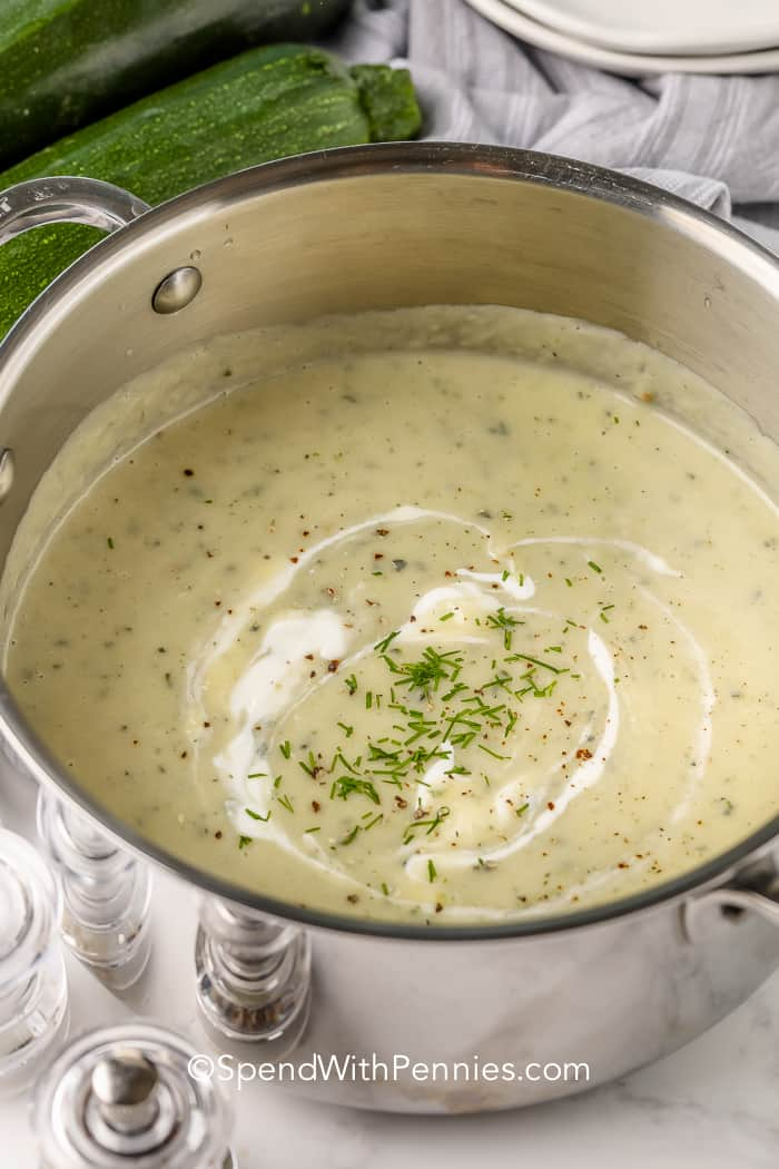 Zucchini Soup in a pot