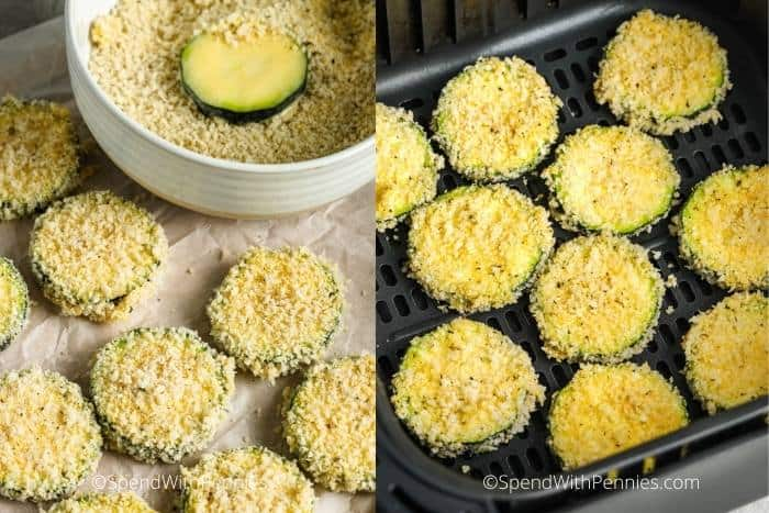 process of coating and making Air Fryer Zucchini Chips