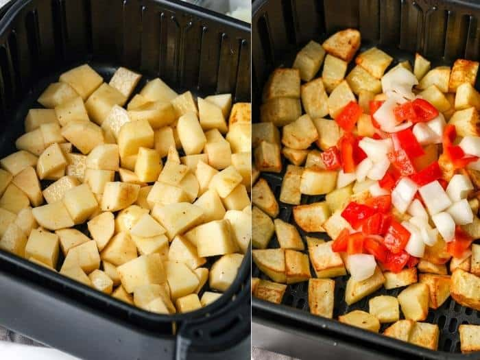 process of adding ingredients to air fryer to make Air Fryer Home Fries
