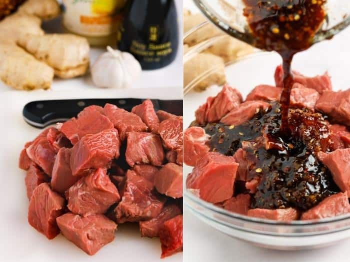 process of adding sauce to beef to make Ginger Soy Steak Bites