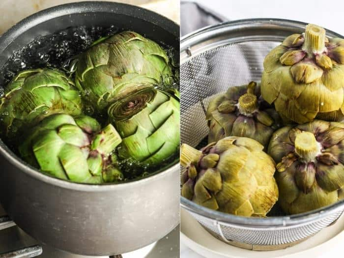 process of boiling artichokes to show How to Cook & Eat Artichokes