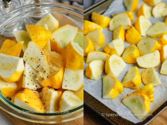 mixing ingredients and putting on the baking sheet to make Roasted Patty Pan Squash with Herb Oil