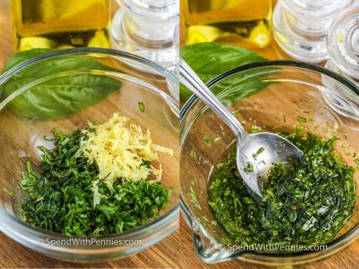mixing oil to make Roasted Patty Pan Squash with Herb Oil