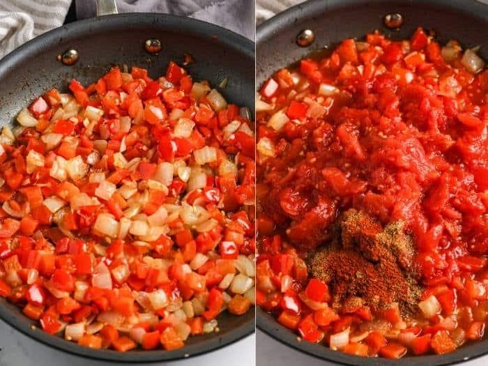 process of adding ingredients to make Shakshuka