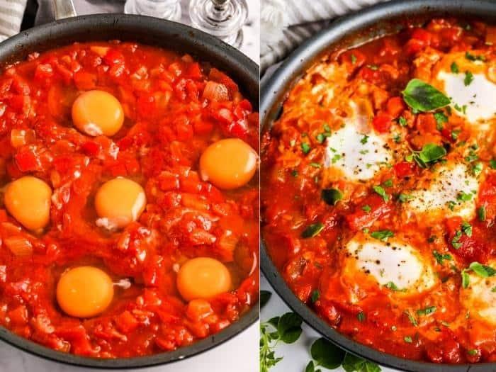 cooking Shakshuka eggs