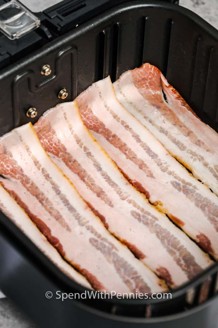 Air Fryer Bacon before cooking