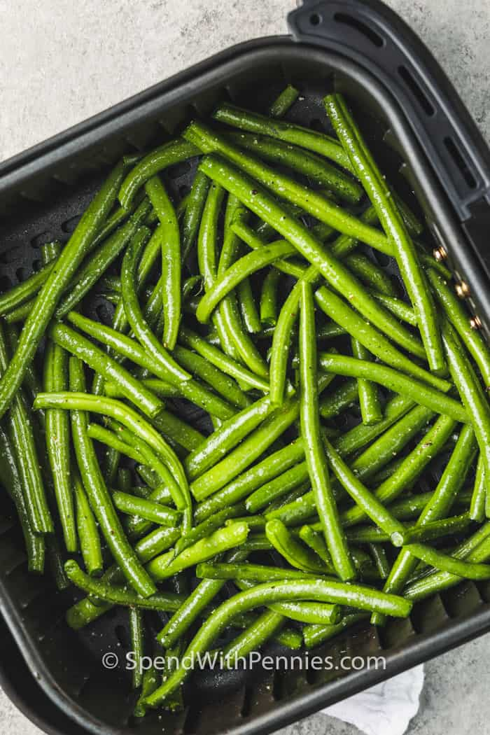 Air Fryer Green Beans in the air fryer before cooking