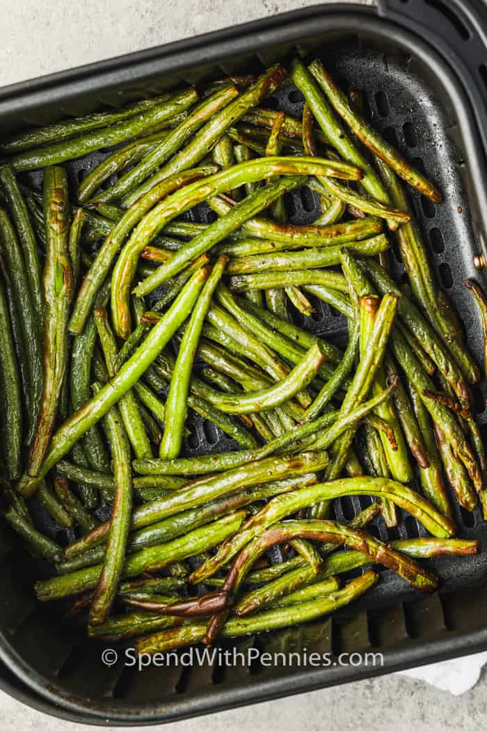 Air Fryer Green Beans cooked in the air fryer