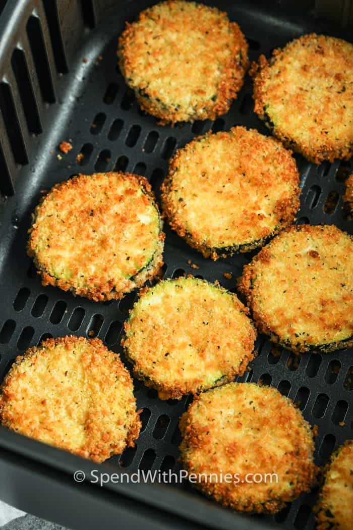 Air Fryer Zucchini Chips after cooking