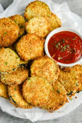 top view of Air Fryer Zucchini Chips with dip