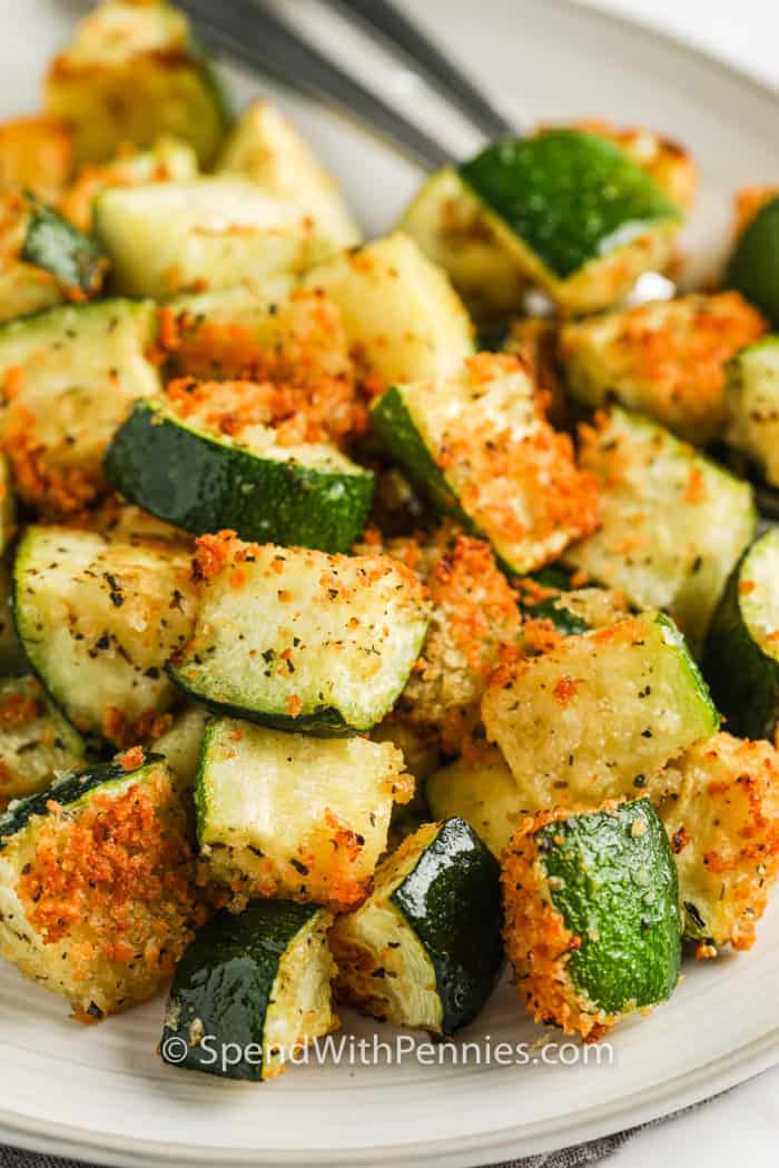 close up of plated Air Fryer Zucchini