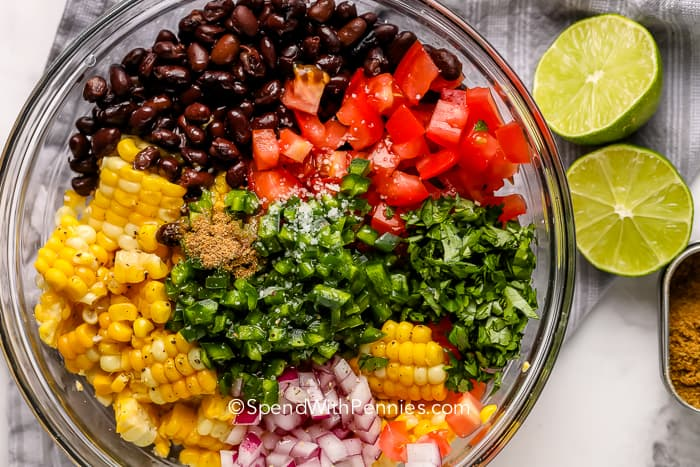 Black Bean and Corn Salsa in a bowl before being mixed