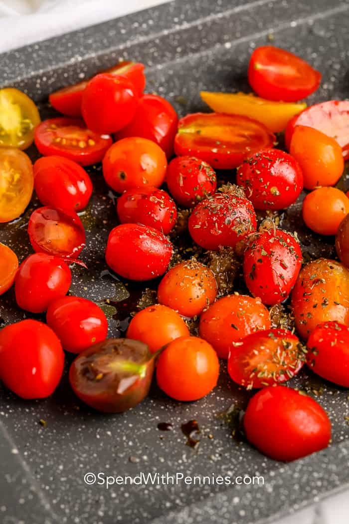 roasted tomatoes in a sheet pan for Burrata with Roasted Tomatoes