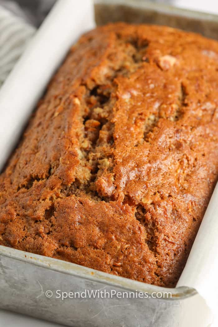 Carrot Bread in pan after baking