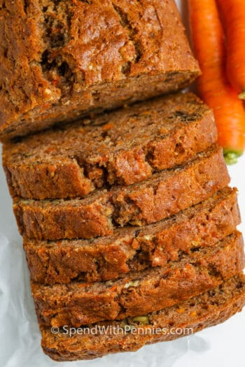 top view of sliced Carrot Bread