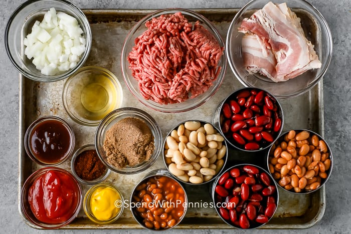 ingredients for Cowboy Baked Beans on a baking sheet