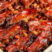 Cowboy Baked Beans in a casserole dish