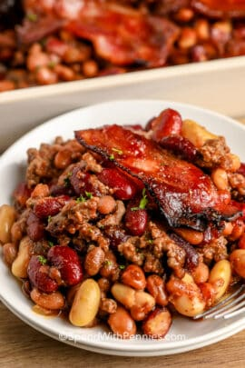 Cowboy Baked Beans on a white plate