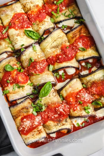 top view of Eggplant Rollatini in a casserole dish